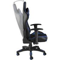 Chaise de Bureau Design Gamer ergonomique confortable avec Accoudoirs réglables et Coussins de nuque et dos Noir Bleu