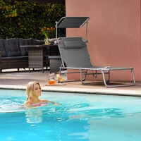 Transat CHLOE - chaise longue, bain de soleil, transat jardin - rose vif