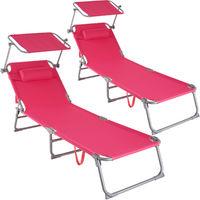 Lot de 2 transats CHLOE - lot de 2 chaises longues, bains de soleil, transats jardin - rose vif