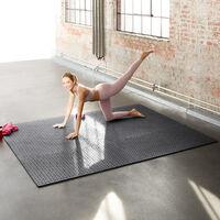 Tapis de Sol de Gym Sport avec 12 Dalles de Protection en Mousse 61 cm x 61 cm Marron