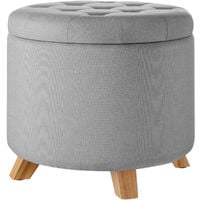 Tabouret avec coffre de rangement aspect lin SUNA capitonné - tabouret bois, tabouret bas, tabouret scandinave - gris clair