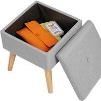 Tabouret avec coffre de rangement aspect lin ELVA carré - tabouret bois, tabouret bas, tabouret scandinave - gris clair