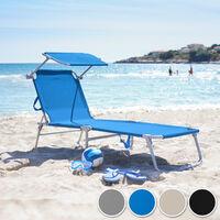 Lot de 2 transats acier - lot de 2 chaises longues, bains de soleil, transats jardin - gris