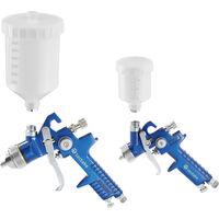 2 Pistolets à Peinture HVLP à Basse Pression avec Buses 1,7 mm + 1,0 mm avec Coffret Bleu