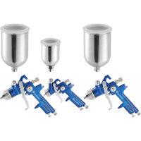 3 Pistolets à Peinture HVLP, Aérographe 1,7 mm + 1,3 mm + 0,8 mm en Aluminium avec Coffret