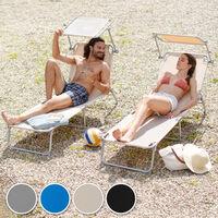 Transat Jardin de Bain Pliant Inclinable avec Pare Soleil en Acier 190 cm Beige