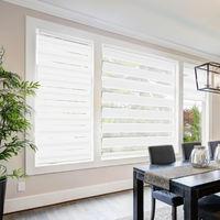 Store Enrouleur de Fenêtre Ajustable Double 63 cm x 120 cm Blanc