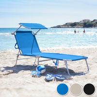 Transat Jardin de Bain Pliant Inclinable avec Pare Soleil en Aluminium 190 cm Bleu