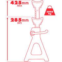 Lot de 2 Chandelles pour Voiture - Capacité 3 Tonnes / Élément - Espace de levage : 285 mm à 425 mm Rouge