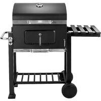 Barbecue Charbon de Bois à 2 Roues 2 Grilles et 1 Thermomètre en Métal Noir