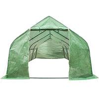 Serre Tunnel de Jardin 18 m² avec 1 Bâche en Polyéthylène Vert