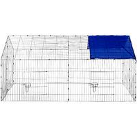 Parc d'Extérieur à Lapins et Petits Rongeurs avec 1 Toit en Métal 180 cm x 75 cm x 75 cm Bleu Gris