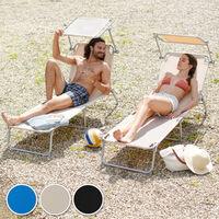 Transat Jardin de Bain Pliant Inclinable avec Pare Soleil en Aluminium 190 cm Bleu x 2