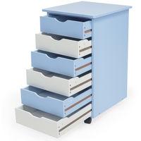 Caisson à Roulettes de Bureau 6 Tiroirs 65 cm x 36 cm x 40 cm Blanc Bleu