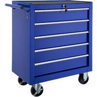 Servante d'Atelier à Outils 5 Tiroirs 69 cm x 33 cm x 79 cm Bleu