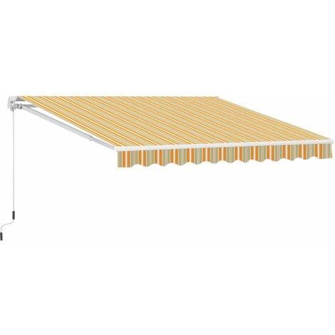 Outsunny Toldo Retráctil con Brazo articulado Aluminio Tejido 300x250cm Rayas Naranja Blanco 280g/m² - mutilcolor (Naranja, blanco y beige)
