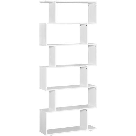 HOMCOM Estantería Librería 6 Estantes de Madera Forma S Estanteria 80x24x191cm Blanco - blanco