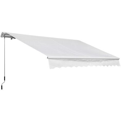 Outsunny Toldo Manual Plegable de Aluminio Toldo Balcón Patio Terraza Manivela 3.5x2.5m - Blanco