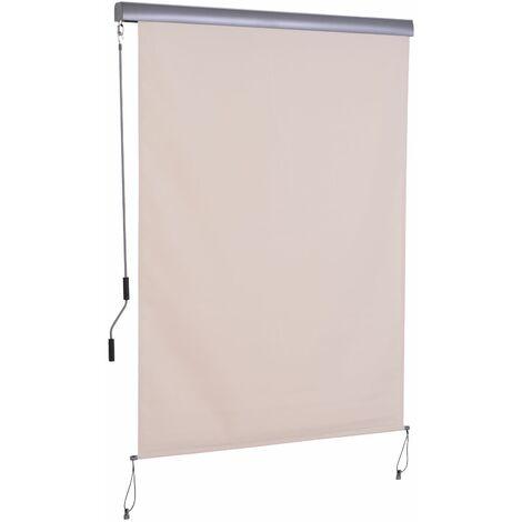 Outsunny Toldo Vertical Enrollable con Manivela Interior Exterior 140x250 cm Crema - blanco crema