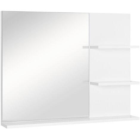 kleankin Espejo de Pared para Baño con 3 Estantes 60x10x48 cm Blanco - Blanco