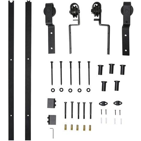 HOMCOM Herrajes Puerta Corredera 200 cm Kit de Acero Accesorios 2 Puertas Deslizantes - negro