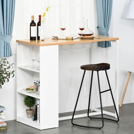 HOMCOM Mesa de Bar de Bistro Mesa Alta para Cocina Comedor con 3 Estantes Estructura de Metal Antivuelco Carga 100 kg 115x55x100 cm Blanco y Roble