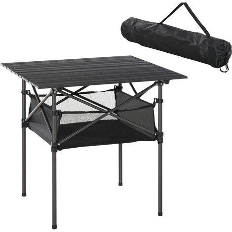 Outsunny Mesa de Camping Plegable con Almacenaje de Malla Bolsa de Transporte 70x70x69 cm - Negro