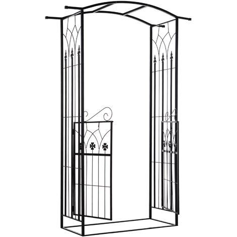 Outsunny Arco de Jardín con Puerta Enrejado de Metal 131x49x212cm con Cerradura Boda Negro Mate - Negro