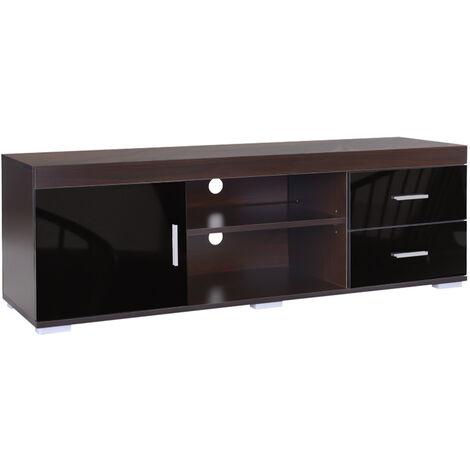 Goliraya Mueble para TV Aglomerado Mesa para TV para Sal/ón Dormitorio con 2 Cajones y 1 Compartimento Negro Brillante 80x34x36 cm