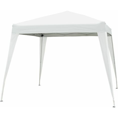 Outsunny Carpa Plegable 3x3m de Jardín Diseño Pop Up Cenador de Acero y Tela Oxford - Blanco