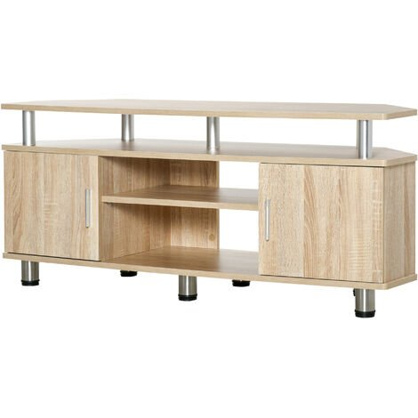 HOMCOM Mesa Soporte de TV Mueble de Comedor Salón Moderno Armario 2 Puertas 2 Estantes - Roble