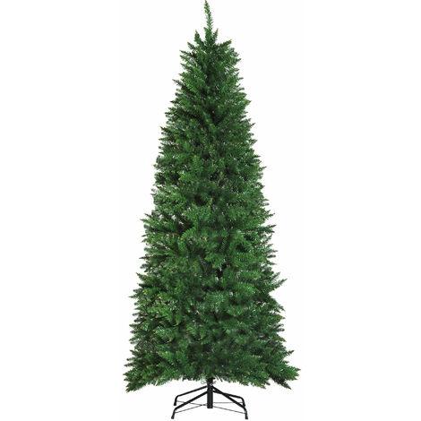 HOMCOM Árbol de Navidad Artificial Árbol con Soporte 210cm 865 Ramas PVC Verde - Verde