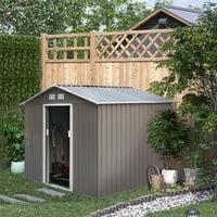 Outsunny Caseta de Jardín tipo Cobertizo Metálico para Herramienta 277x195x192 cm Gris - Gris