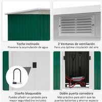 Caseta de Jardín Tipo Cobertizo Metálico para Almacenamiento de Herramientas Base Incluida 280x130x172 cm - Verde