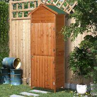 Outsunny Almacenamiento de Herramientas Cobertizo Caseta de Jardín Exterior de Madera - Color Madera