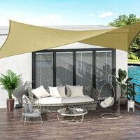 Outsunny Toldo de Vela Sombrilla Parasol Rectángulo Tejido de Poliester 185 g/m² Jardín - arena