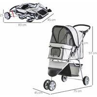 PawHut Cochecito Plegable Mascotas 75x45x97cm Perro Gato Carrito Ruedas Giran 360º - Gris