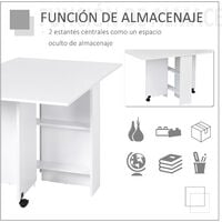 HOMCOM Mesa de Comedor Plegable Madera con Ruedas 2 Solapas y 2 Estantes 140x80x74 cm - Blanco
