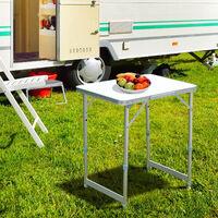 Outsunny Mesa Plegable como Una Maleta para Playa Camping 60x45x64cm Aluminio Ajustable - Blanco y Plata