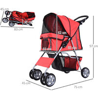 PawHut Cochecito Plegable Mascotas Carrito para Perros Gatos con 4 Ruedas Cesta de Almacenaje Ventanas y Portavasos Tela Oxford Marco de Acero 75x45x97 cm - Rojo