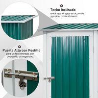 Outsunny Caseta de Jardín con Puerta con Pestillo y Techo Inclinado 143x89x186 cm - Verde