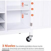 HOMCOM Carrito de Cocina Multiusos con Botellero Cajones y Armarios 113x45x89cm Blanco - Blanco