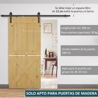 HOMCOM Herraje 200cm para Puerta Corredera de Madera Guía Riel con Tornillos Carga 90kg - Marron