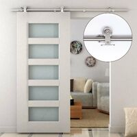 HOMCOM Kit Instalacion Puerta Corredera Madera Puertas Corredizas Riel Acero Inoxidable - Plateado