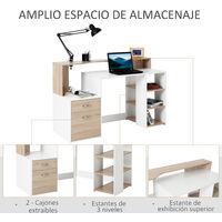 HOMCOM Mesa de Ordenador PC 137x55x92cm Despacho Escritorio Oficina Escuela Estantería - Madera
