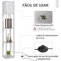 HOMCOM Lámpara de Pie de Madera con 3 Estantes para Bombilla E27 Potencia Máx. 40W Lámpara Moderna para Salón Dormitorio 26x26x160 cm Blanco - Blanco