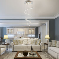 HOMCOM Lámpara Techo de Cristal Colgante Gota de Lluvia Casquillos GU10 de 25W Ф40x90cm - Plata