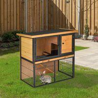 PawHut Conejera de Exterior Madera 2 Pisos Rampa Bandeja Extraíble Puerta 89,5x45x81 cm - Multicolor