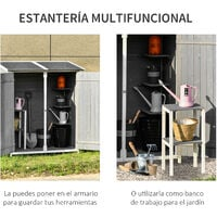 Outsunny Caseta de Jardín de Madera 139x75x160 cm Cobertizo para Almacenaje de Herramientas con Estantería Movible Puertas con Cerrojo Techo Asfáltico Ganchos - Gris