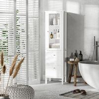 kleankin Armario Alto para Baño Mueble Columna de Baño con 1 Puerta de Cristal Estantes Ajustables y 2 Cajones Moderno para Salón Cocina 43x35x160 cm Blanco - Blanco